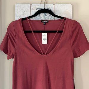 Express Maroon T-Shirt Dress Sz XS